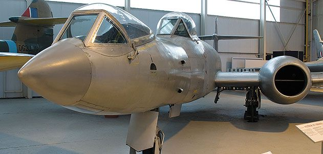 The prone-pilot Gloster Meteor testbed, couch included, is on permanent R&R at Britain's Royal Air Force Museum Cosford.