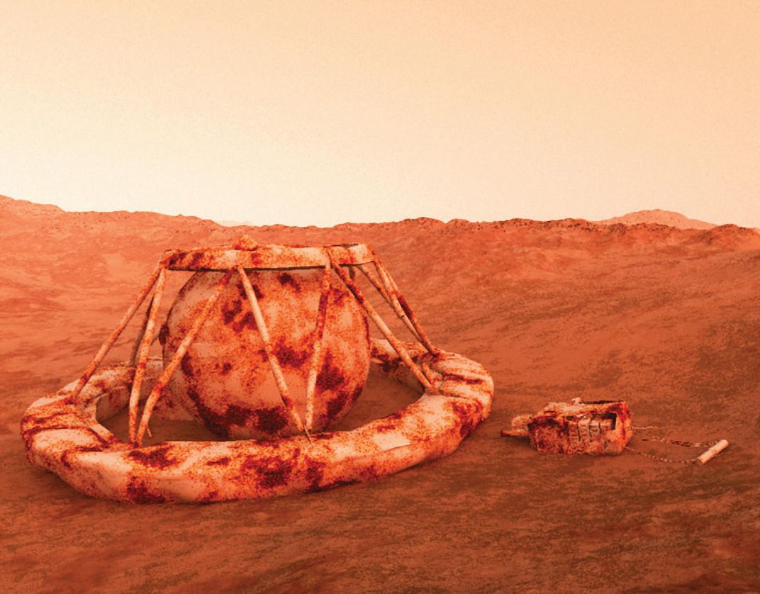 artist rendering of a corroded Venus lander on the planet's orange surface