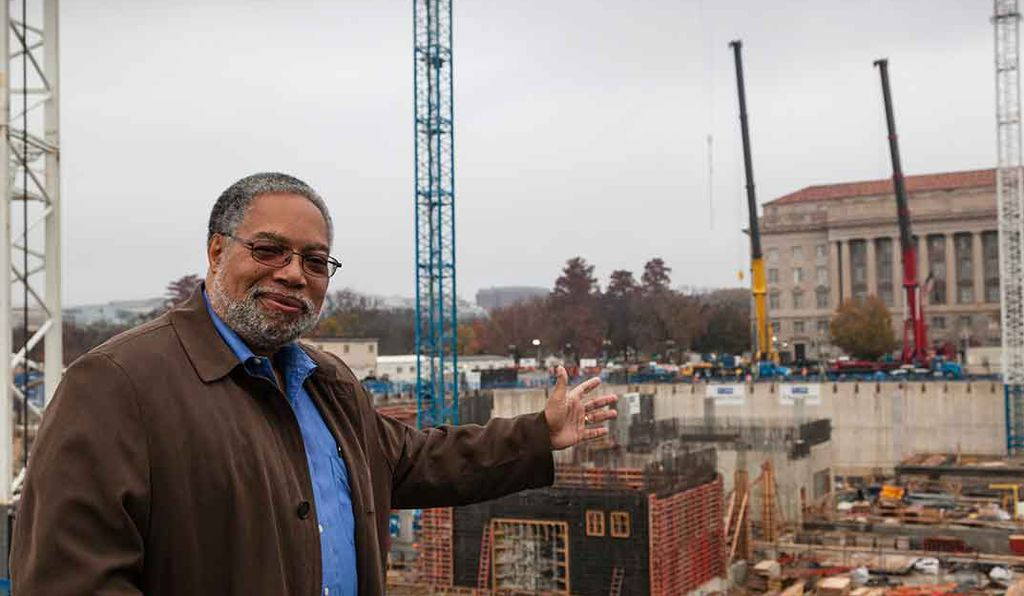 Founding Director Lonnie Bunch at the construction site for the new museum in 2013.