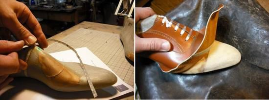 Measuring and fitting leather to a last
