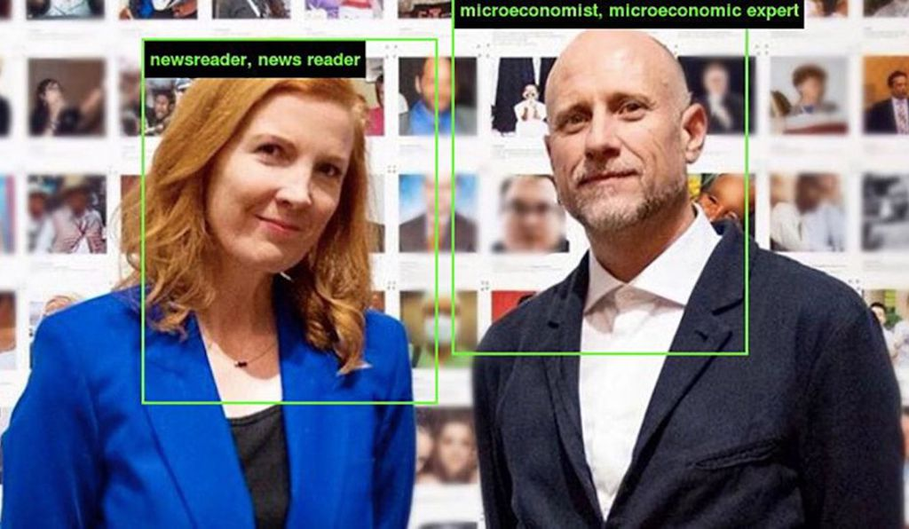 Kate Crawford (left) and Trevor Paglen (right), as classified by ImageNet Roulette