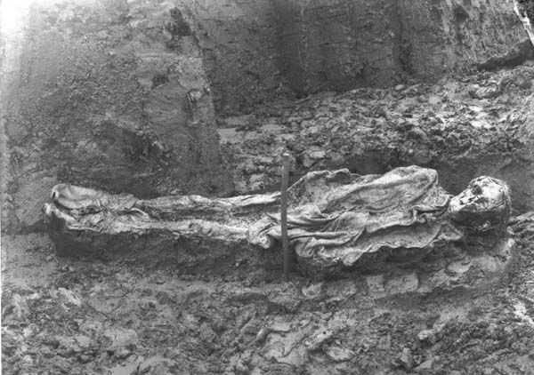 The first bog body ever photographed, which was discovered in Denmark in 1898.