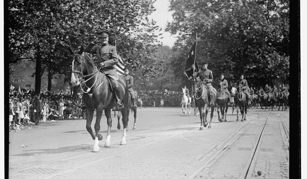 Pershing rode at the head of this troops, followed by other senior American officers, the band and then the provisional regiment.