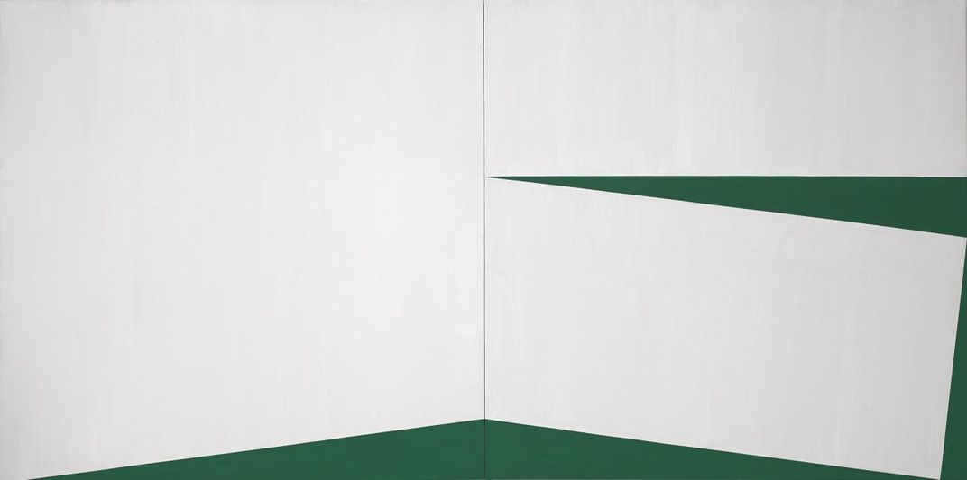 A two panel abstract painting in white and green