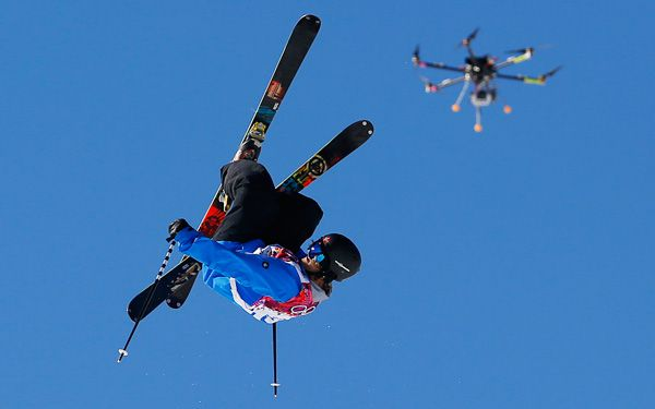 Is it a bird? A snowboarder? No, it's a drone.