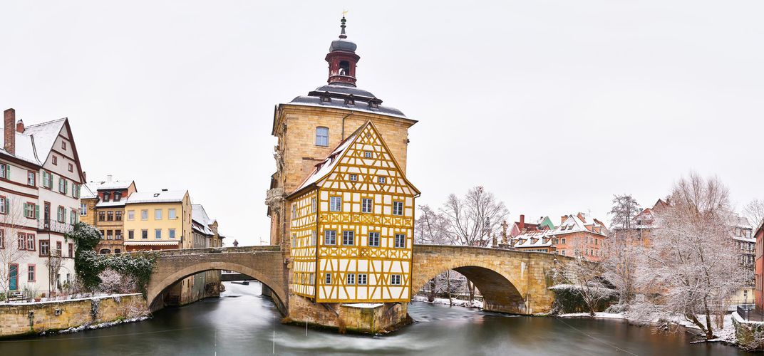Winter view of Bamberg Old Town Hall