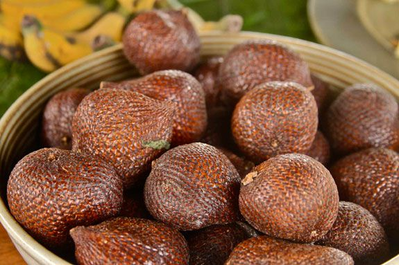 A bowl of gleaming snakefruit beckon tourists to indulge at a hotel in Bali.