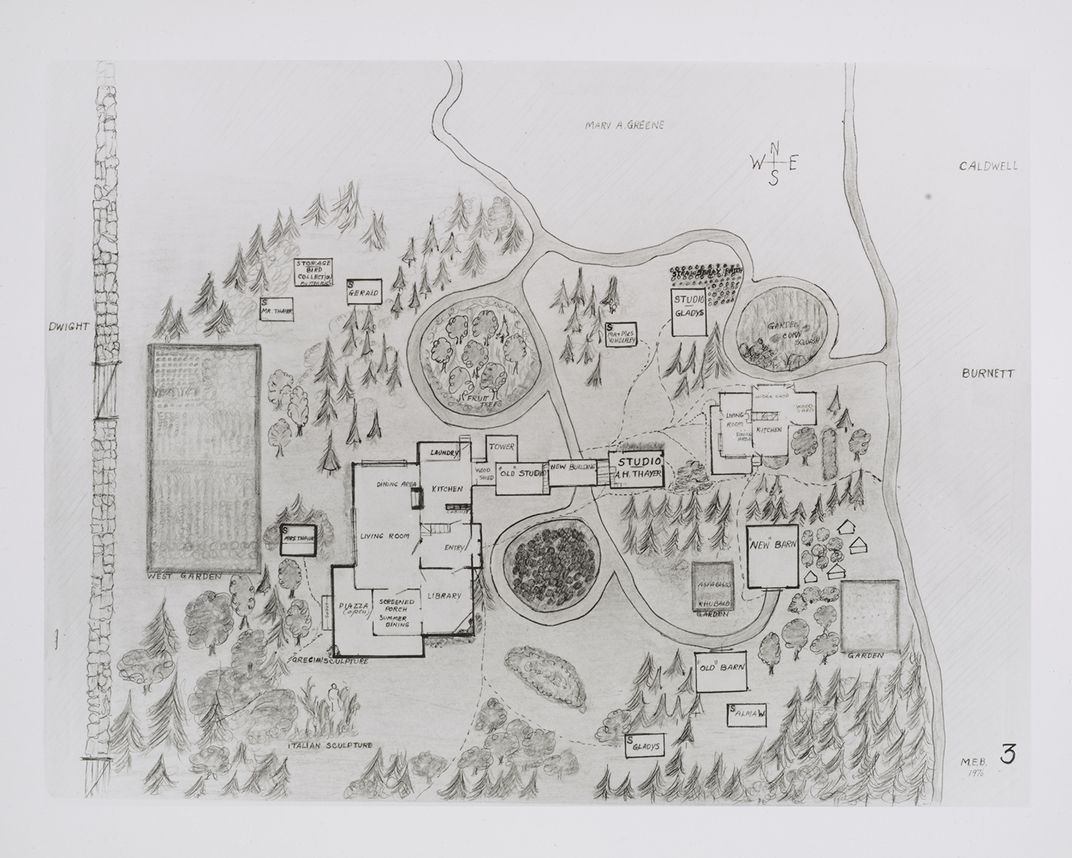Photograph of a map of the Thayer compound