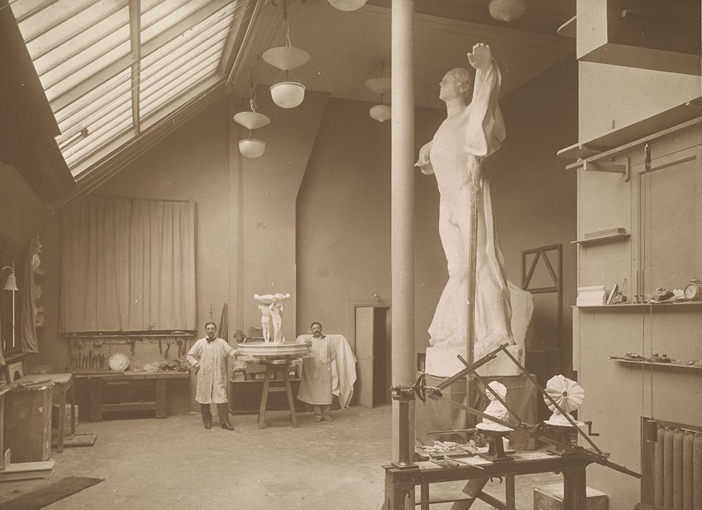The Paris Studio of Gertrude Vanderbilt Whitney with a model of Friendship Fountain in the background