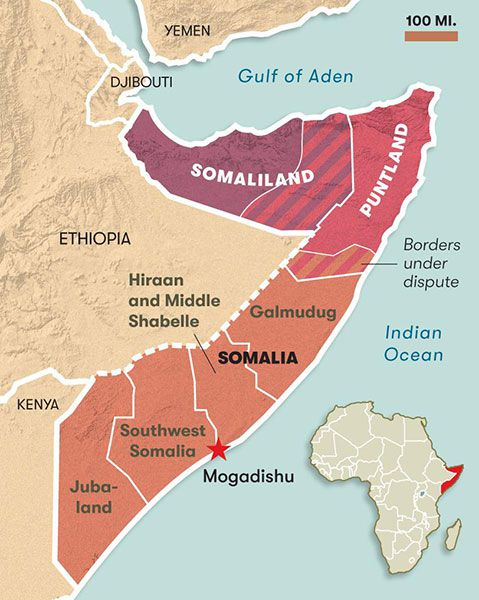 map of Somalia conflict