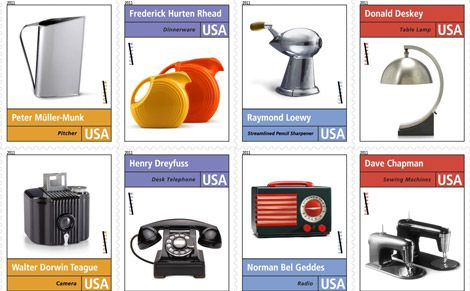 A selection of the stamps featuring American inventions