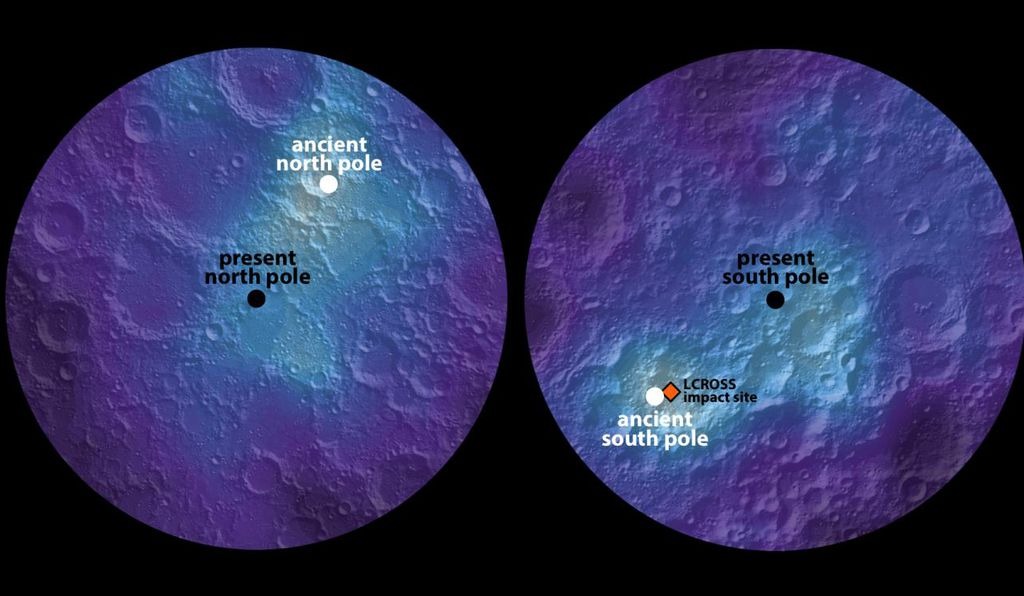 Ancient lunar ice indicates the moon's axis slowly shifted location 125 miles, or 6 degrees, over 1 billion years.