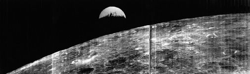Two years before Apollo 8, Lunar Orbiter 1 showed us how Earth looked from the moon.