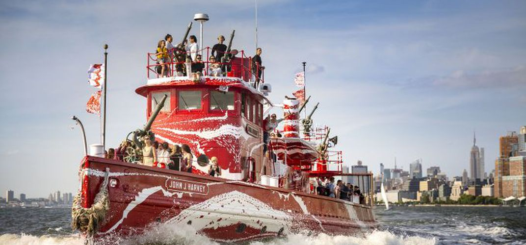 Caption: NYC Fireboat Rebranded in Dazzle Camo