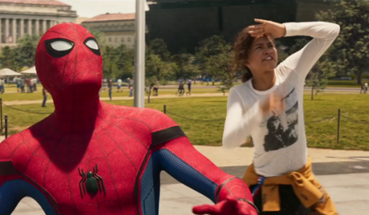 Caption: Zendaya and Tom Holland in Spider-Man: Homecoming (2017); credit: Sony