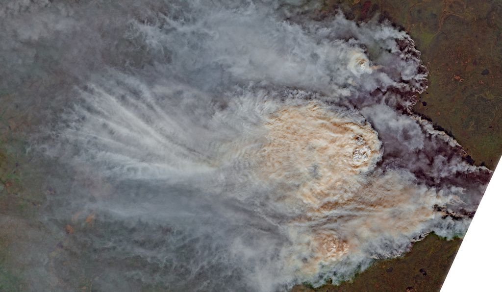 July 23 wildfire in the Mirninsky District of the Sakha Republic, Russia, as seen in satellite image
