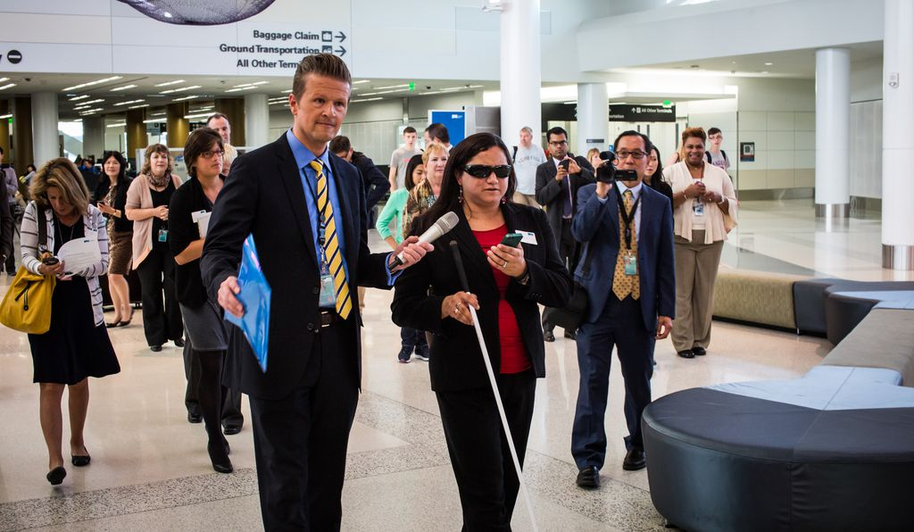 Lisamaria Martinez, the Donor Relations Coordinator for LightHouse for the Blind and Visually Impaired, demonstrates the Indoo.rs app.