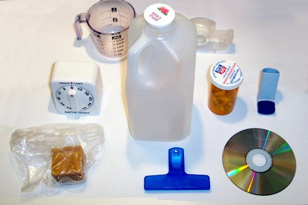 Household items made of various types of plastic