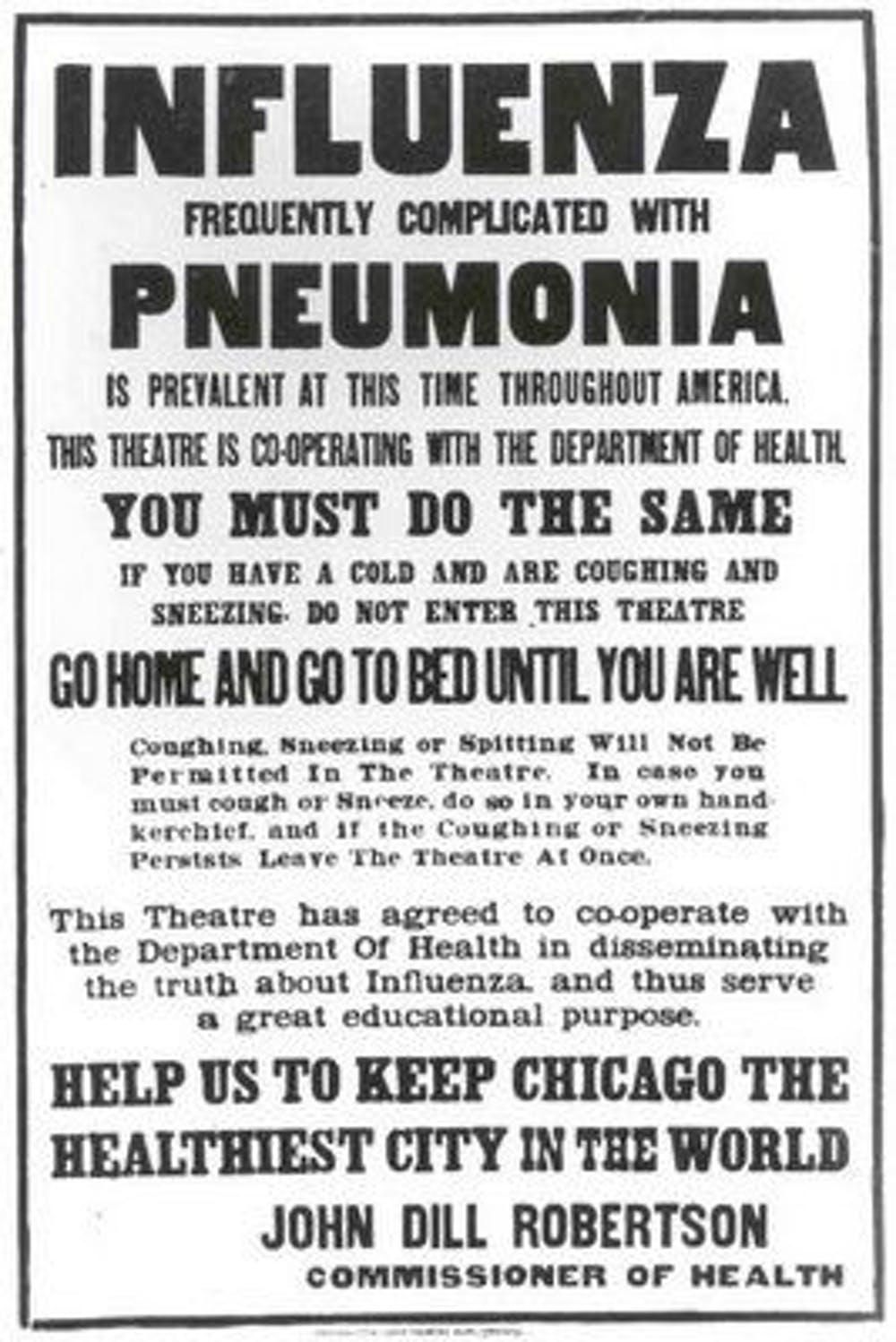 A Chicago Public Health poster outlines flu regulations during the pandemic.
