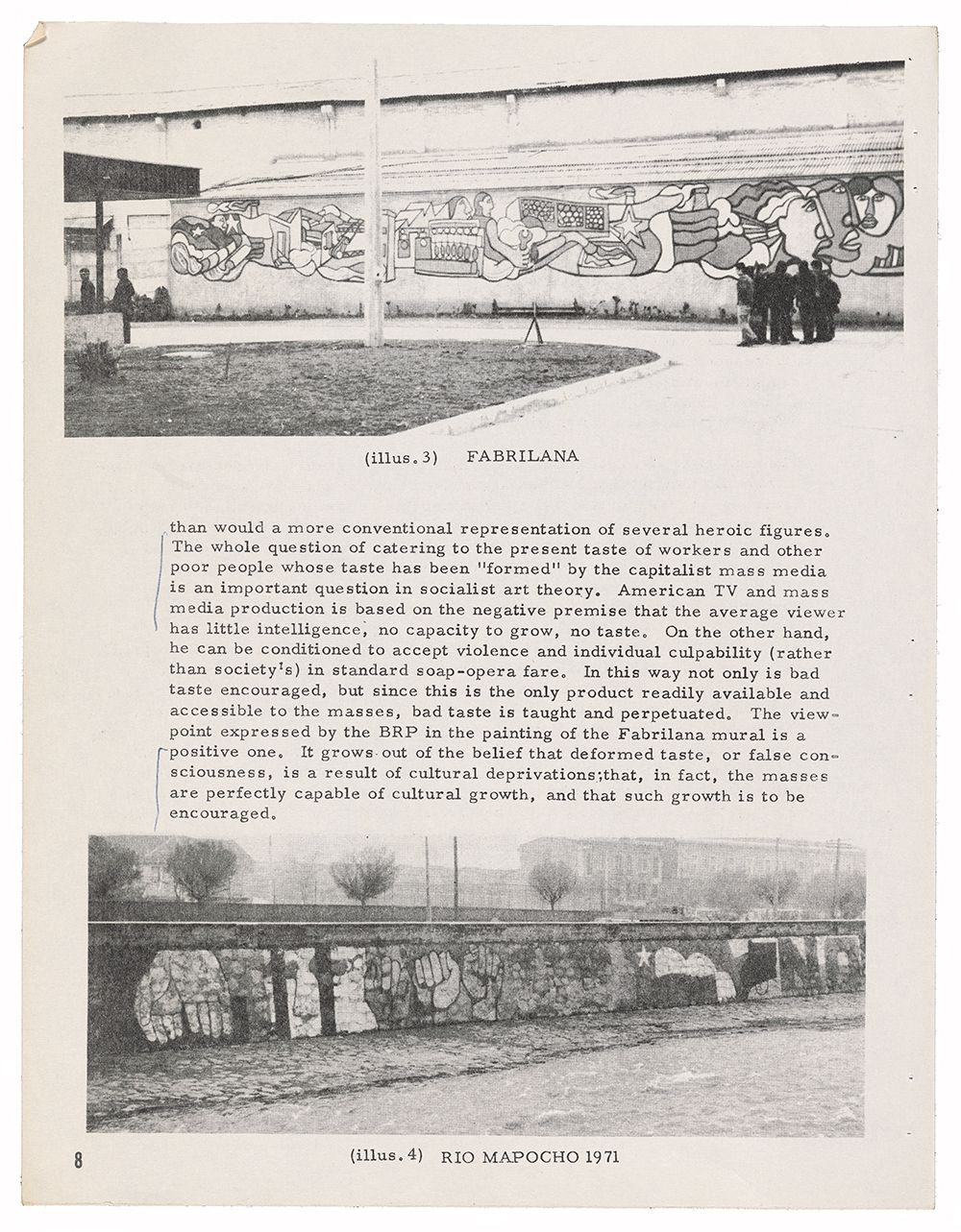 """Photocopy of article """"Murals for the People of Chile"""" written by Eva and James Cockcroft and originally published in San Francisco-based journal Towards Revolutionary Art."""