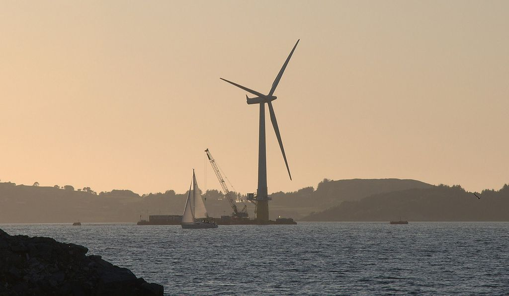 The world's first full-scale floating wind turbine being assembled near Stavanger, Norway in 2009.