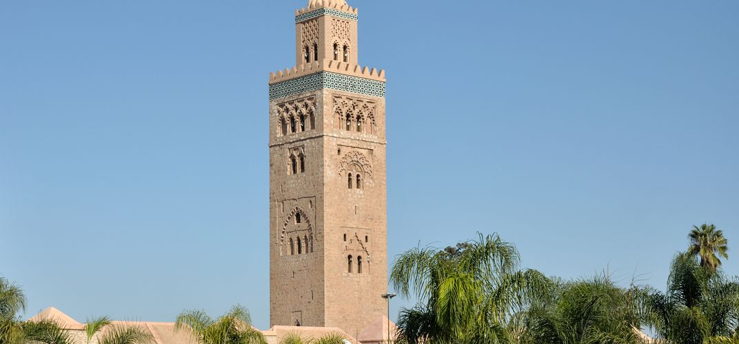 The distinctive minaret of Koutoubia Mosque, Marrakech