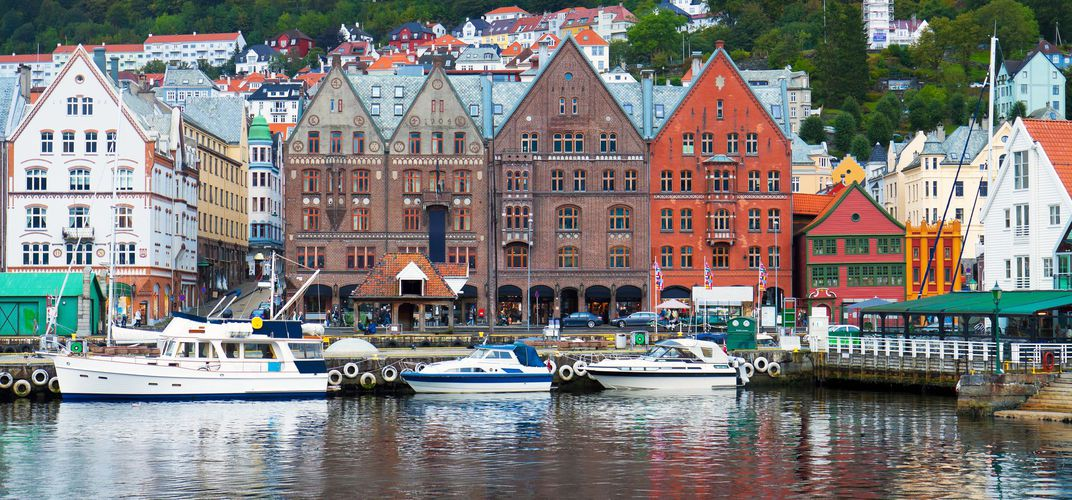 The lively harbor of Bergen, Norway
