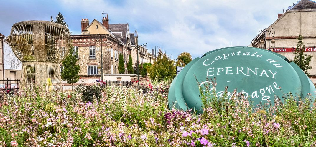 The village of Epernay, in the Champagne region