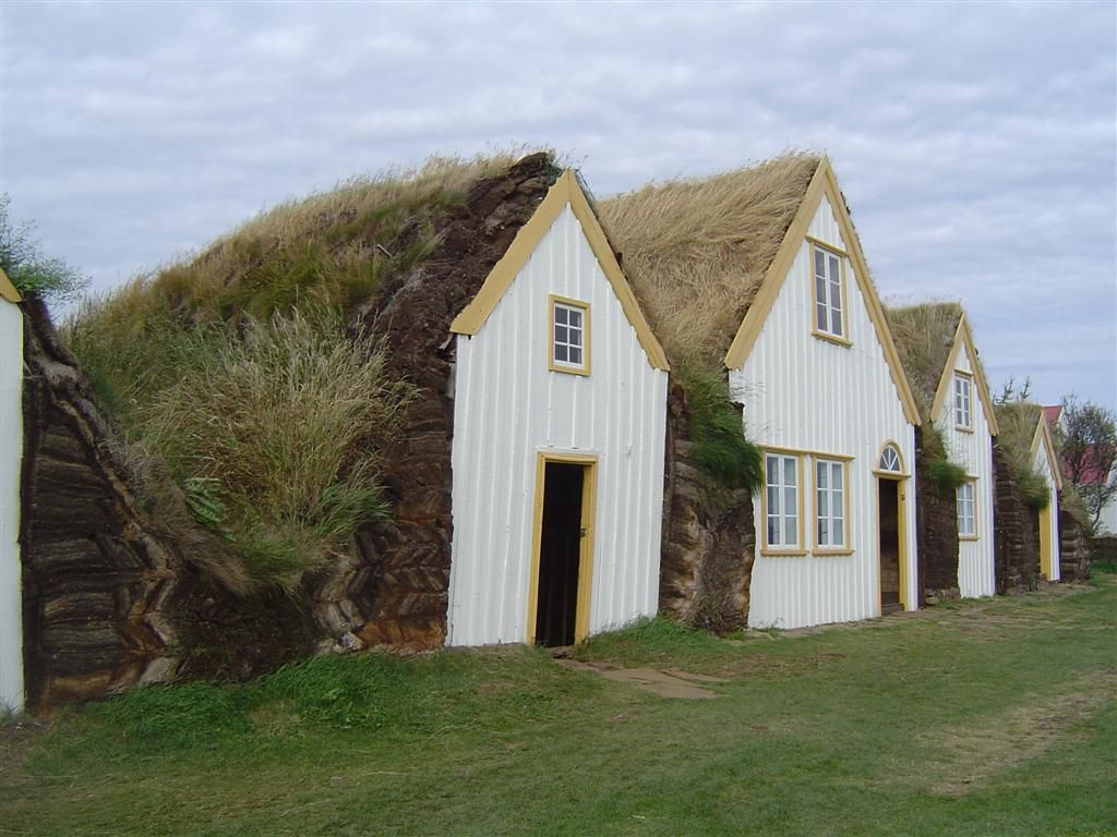 Recreated turf houses at Glaumbær in Iceland