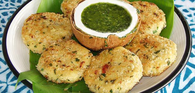 Breadfruit shrimp cakes