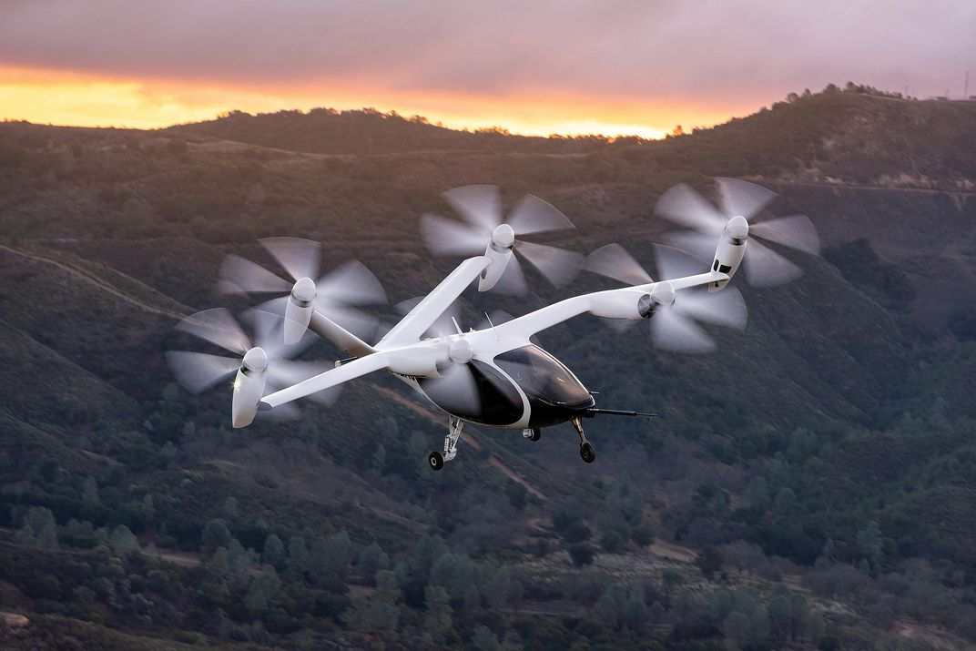 Joby Aviation S4 with sunset over hills in background