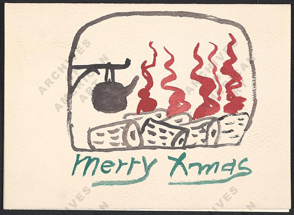 Handmade christmas cards sent by famous artists to their friends philip guston christmas card to elise asher 195 elise asher papers 1923 1994 archives of american art m4hsunfo