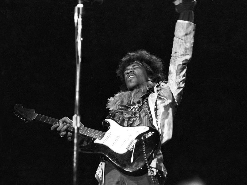 Jimi Hendrix on stage at Monterey