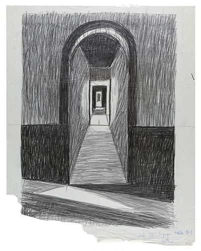 Pencil sketch of a hallway with a curved entrance and light and shadows represented by geometric shapes. Bottom left corner of the sketch is tron.
