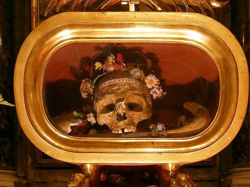 Relics of St. Valentine of Terni at the basilica of Saint Mary in Cosmedin