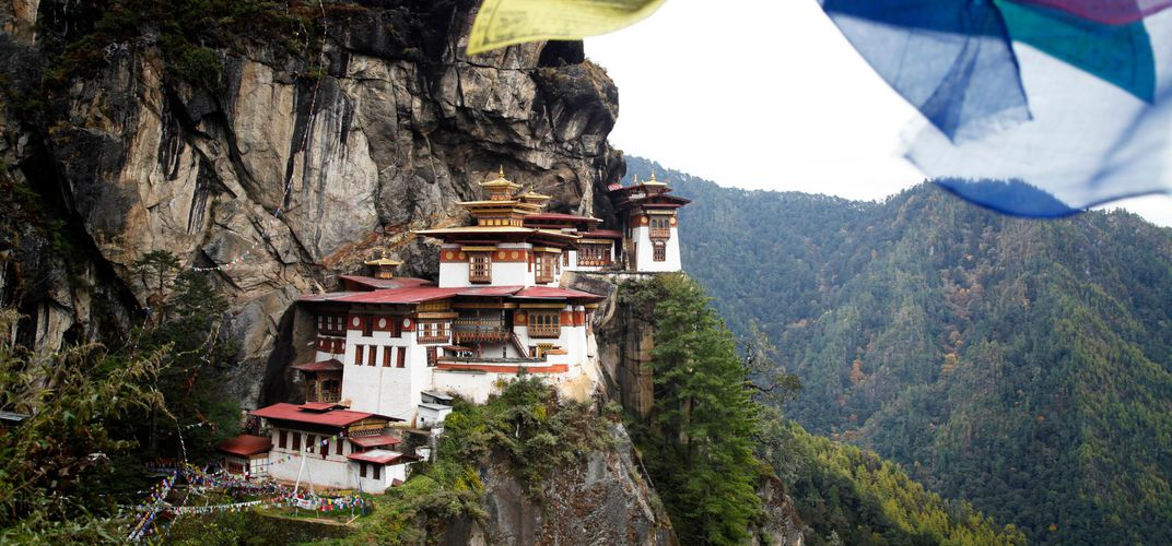 The Taktsang Monastery, also known as the Tiger's Nest in Bhutan