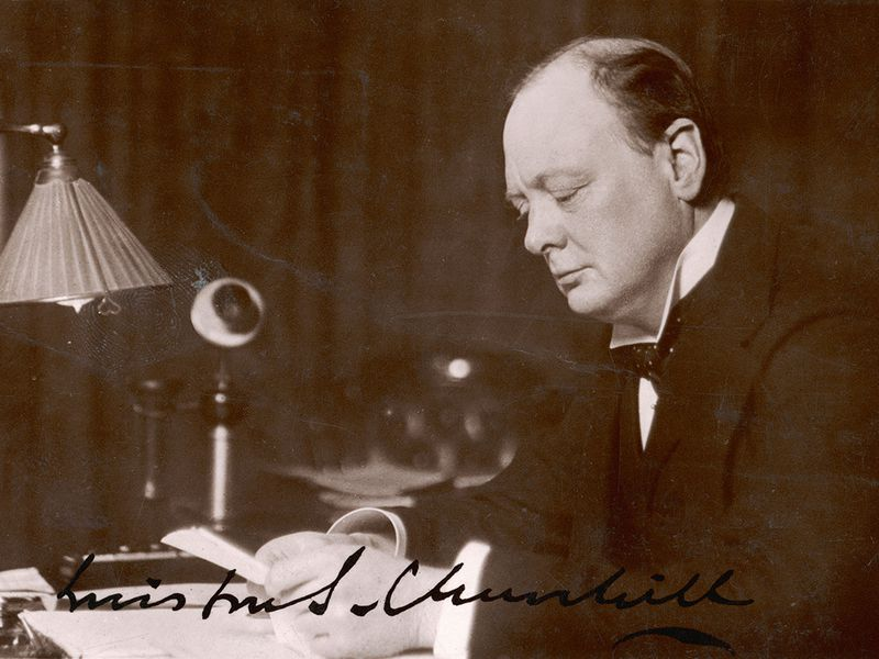 Thesis Statement Persuasive Essay British Statesman And Author Winston Churchill Reads Correspondence At His  Desk In  Mary Evans Picture Library  Alamy How To Write A Synthesis Essay also Essay In English Literature Are We Alone In The Universe Winston Churchills Lost  Thesis Statement In An Essay