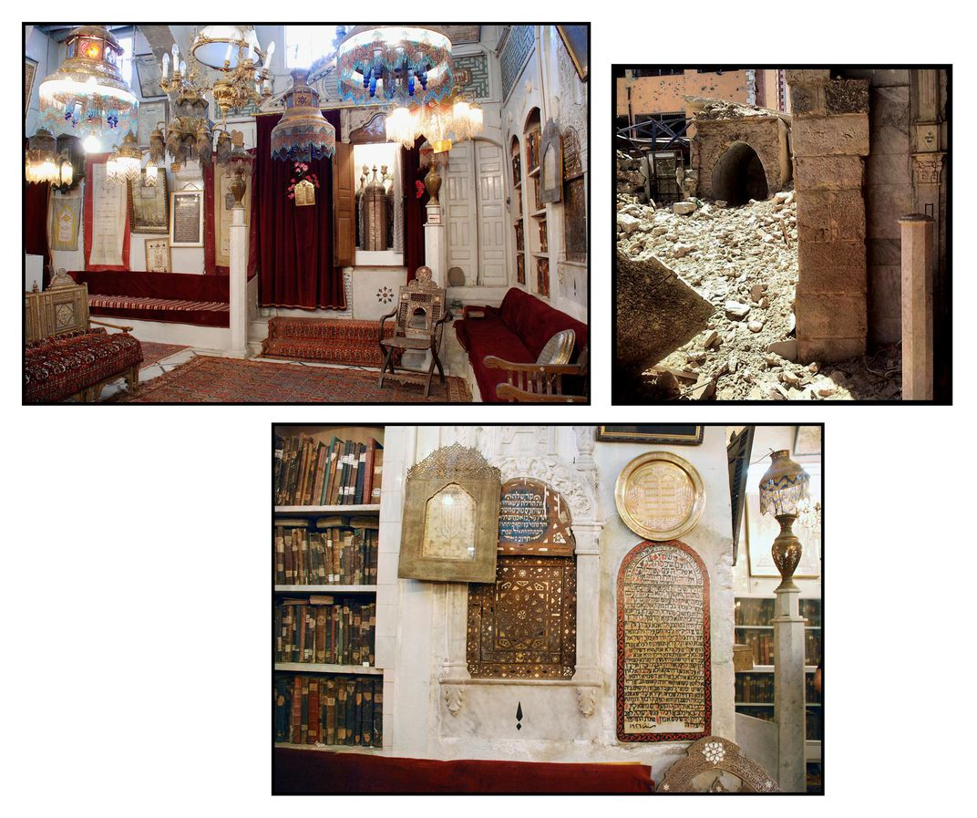 Upper left, the sanctuary of Eliyahu Hanavi-Jobar in 2010. One tradition holds that it was built on top of a cave where the prophet Elijah hid from persecution and spoke to God. Upper right, the ruins of the Eliyahu Hanavi-Jobar Synagogue in Damascus, Syr