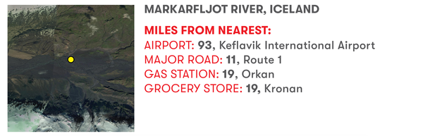 Markarfljot River, Iceland. Miles from nearest: Airport: 93, Keflavik International Airport. Major road: 11, Route 1. Gas station: 19, Orkan. Grocery store: 19, Kronan