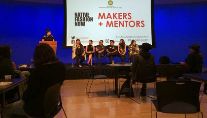 Native artists sharing experiences and their thoughts on design and inspiration. From left: Fashion and textile historian Regan Loggans, fashion designer Patricia Michaels, fashion designer Niio Perkins, fashion designer and multimedia artist Loren Aragon, artist and apparel designer Jared Yazzie, fashion model Jade Willoughby, and editorial hair stylist Amy Farid.