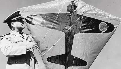 During World War II, Navy Commander Paul Garber developed a target kite (bearing the silhouette of a Japanese aircraft) for U.S. Navy ship-to-air gunnery practice.