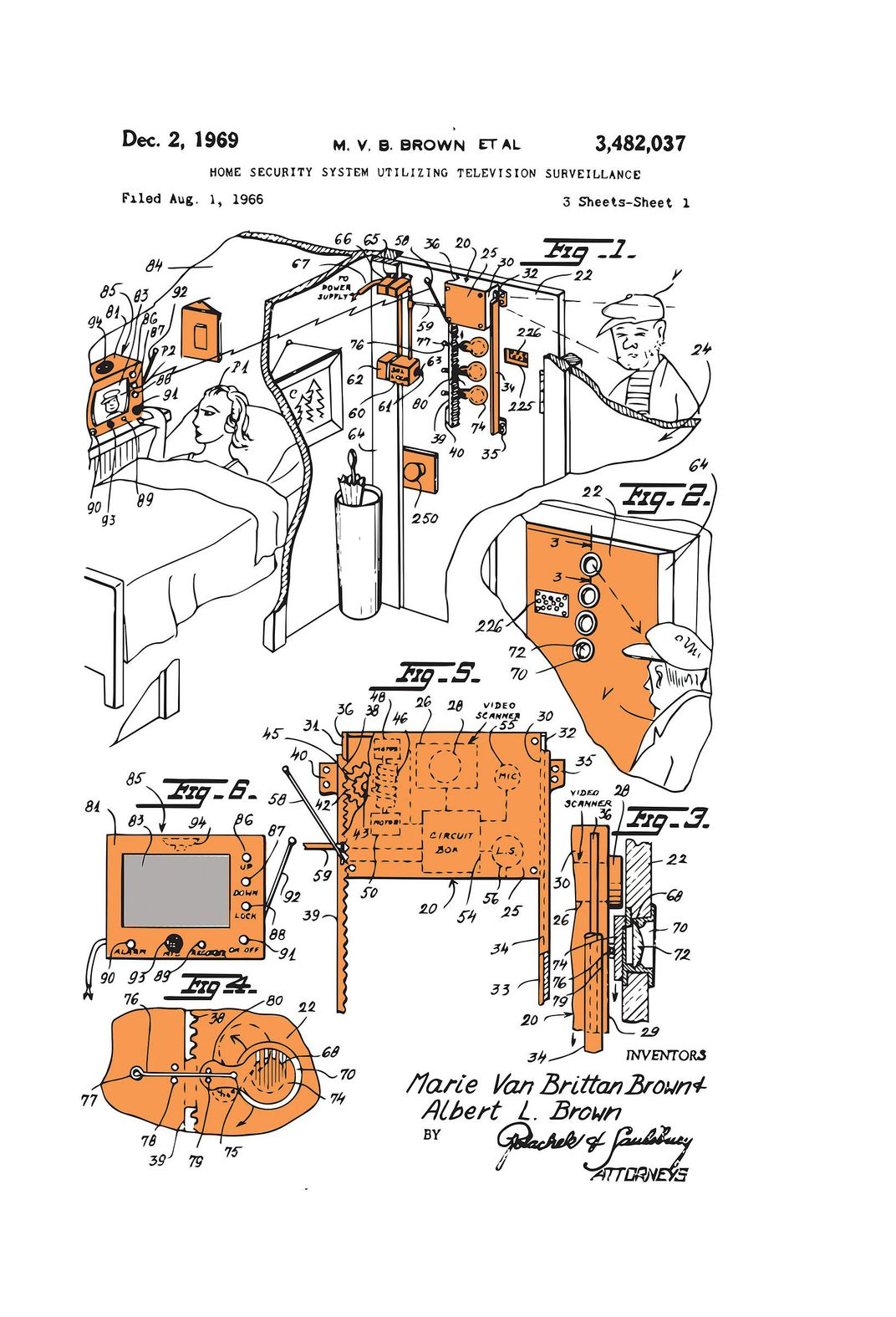 Patent application for bedside door security camera, sketched in black, white, and orange