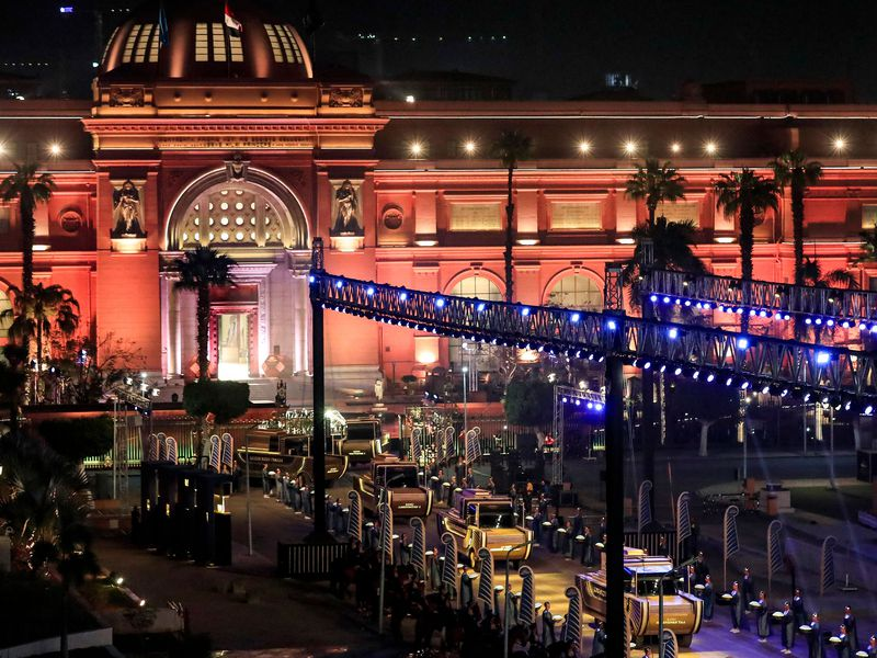 Night view of the Pharaohs' Golden Parade
