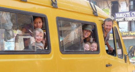 In Nepal, the Lambrecht family of Sebastopol, California is loving life and local transport.