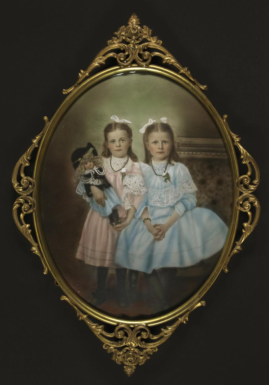 A painting of two twin sisters holding a doll.