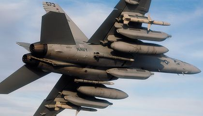 No soft underbelly here: The EA-18G Growler hauls missiles, fuel tanks, and electronic warfare pods.