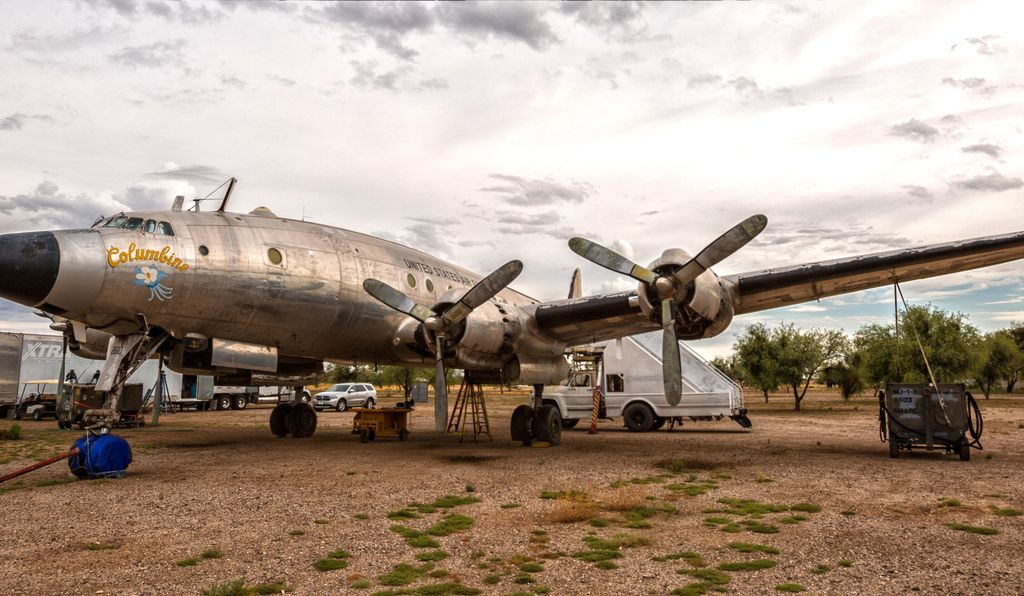 Years of sitting in the desert had taken its toll: The cabin had become a bird sanctuary, and the dry air had desiccated the airplane's tires and hoses.
