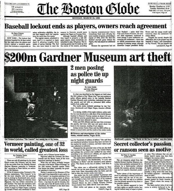 The front page, A1, of the Boston Globe with the headline $200m Gardner Museum art theft, followed by 2 men posting as police tie up night guards