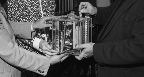 The 1987 L. Ron Hubbard Writers of the Future time capsule placed in a bank vault