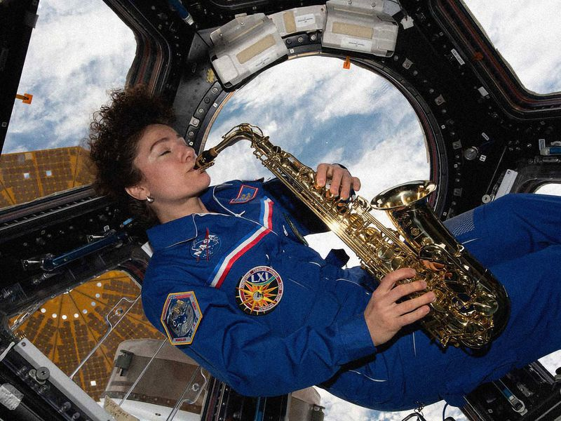 Astronaut Plays the Saxophone In Space